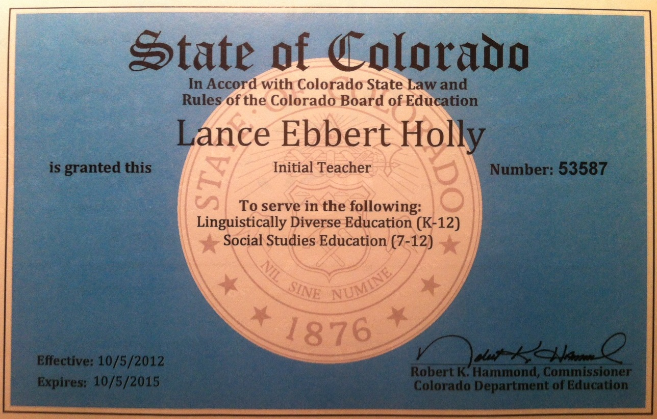 About me lance holly digital showcase of innovation and leadership colorado teaching license 1betcityfo Gallery